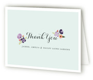 Mint Flower Birth Announcements Thank You Cards