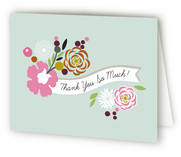 Flower Banner Birth Announcements Thank You Cards
