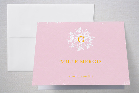 Vintage Monogram Birth Announcements Thank You Cards