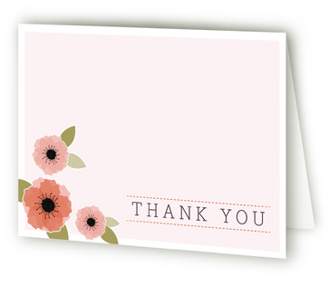 New Born Poppy Birth Announcements Thank You Cards