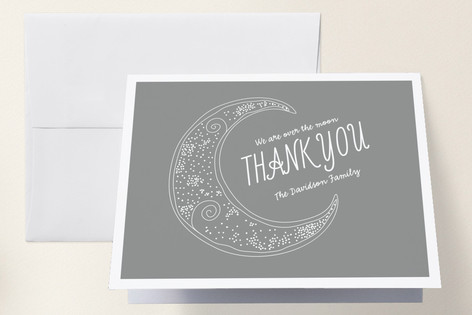 Crescent Moon Birth Announcements Thank You Cards