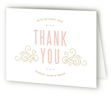 Elegant Scroll Birth Announcements Thank You Cards