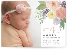 Soft Watercolor Floral Birth Announcements