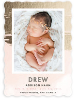 Gold Painted Snapshot Birth Announcements