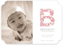 Floral Monogram Birth Announcements