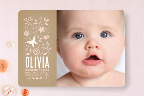 Serene Butterfly Birth Announcements