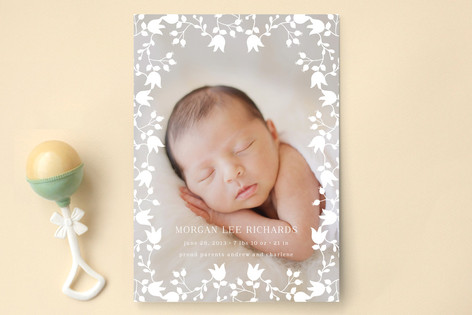 Floral Lace Birth Announcements