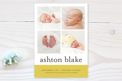 Classic Color Block Birth Announcements
