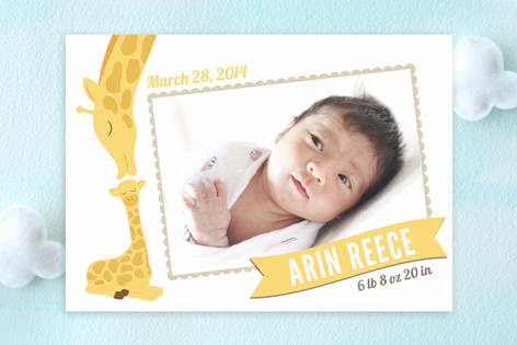 Lovely Giraffe Birth Announcements