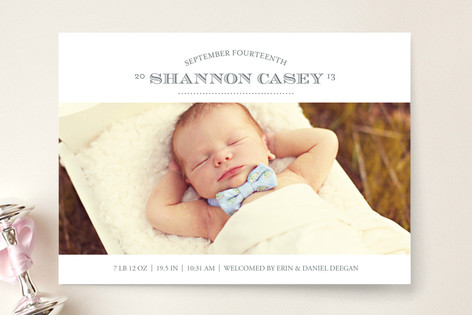 Typographic Welcome Birth Announcements