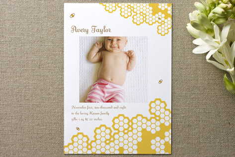 Baby Bee Birth Announcements