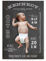Chalkboard Stats Birth Announcements