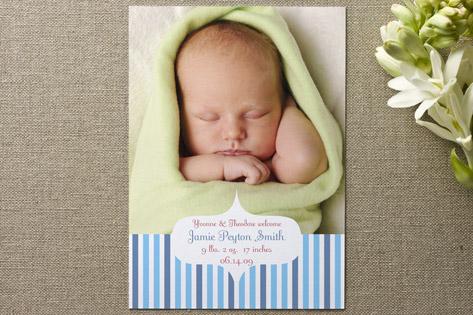 Garden Stripes Birth Announcements