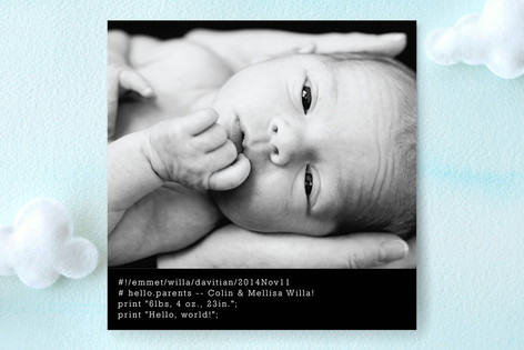Hello World Birth Announcements
