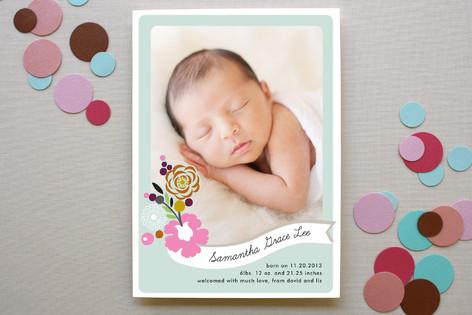 Flower Banner Birth Announcements