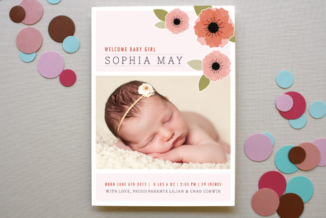 New Born Poppy Birth Announcements