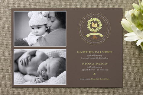 perfect pair crest Birth Announcements