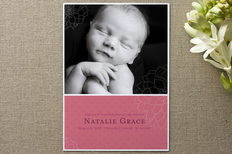 Subtle Dahlia Birth Announcements