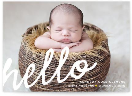 A Simple Hello Birth Announcements