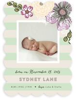 Cascading Floral Stripe Birth Announcements