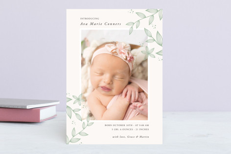 Sweet Botanical Birth Announcements