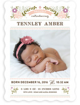 Floral Embroidery Birth Announcements