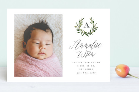 Rosemary sprig Birth Announcements