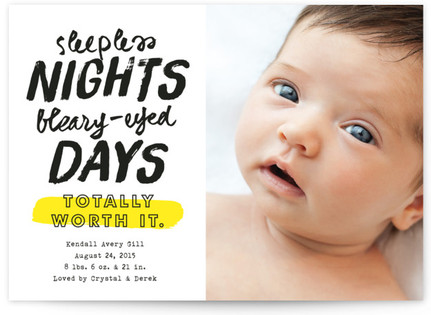 Sleepless Nights Birth Announcements