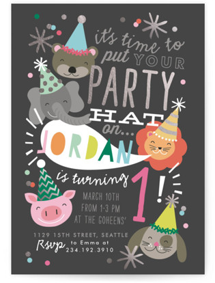Party Hat Animals Foil-Pressed Children's Birthday Party Invitations