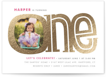 Big One Foil-Pressed Children's Birthday Party Invitations
