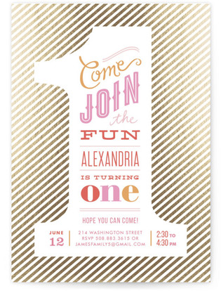 The Big One Foil-Pressed Children's Birthday Party Invitations
