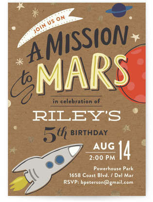 Mission To Mars Foil-Pressed Children's Birthday Party Invitations