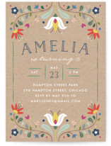 Folk Florals Children's Birthday Party Invitations