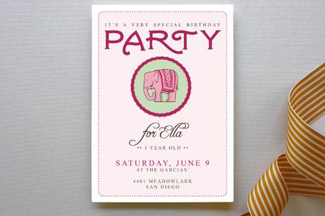 Girly Elephant Children's Birthday Party Invitations