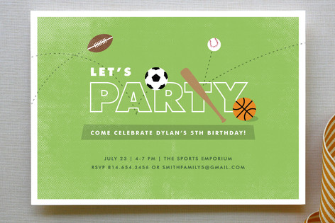 The All Star Children's Birthday Party Invitations