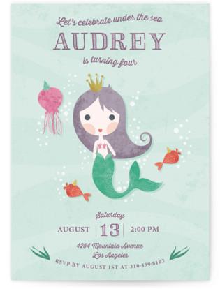 Mermaid Princess Children's Birthday Party Invitations