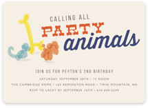 Party Animal Children's Birthday Party Invitations