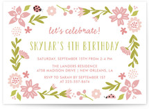 Floral Lady Bug Children's Birthday Party Invitations