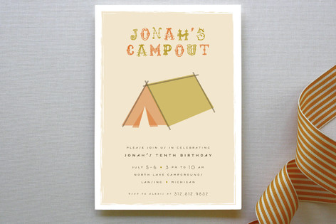 Cool Campout Children's Birthday Party Invitations