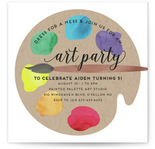 Arty Party Children's Birthday Party Invitations