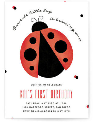 Little Bug Children's Birthday Party Invitations