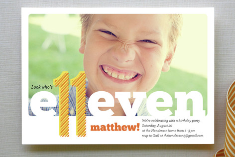 Happy Eleventh! Children's Birthday Party Invitations
