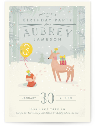 Winter Children's Birthday Party Invitations