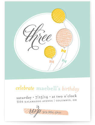 Balloons Bows Children's Birthday Party Invitations