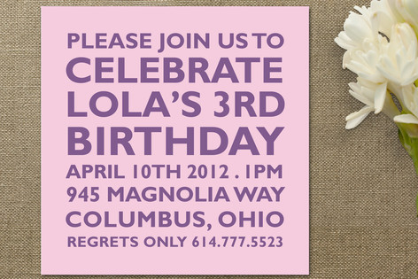 Block Children's Birthday Party Invitations