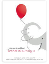 Elephant Balloon Children's Birthday Party Invitations