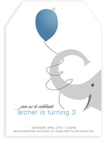 Elephant Balloon Children's Birthday Party Invitations