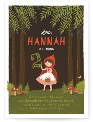 Through The Woods Children's Birthday Party Invitations
