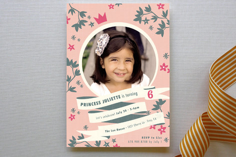 Princess Crown Children's Birthday Party Invitations