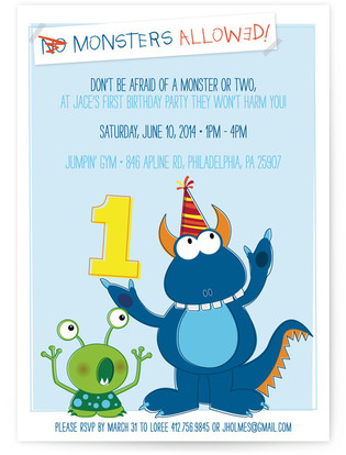 Monsters Allowed! Children's Birthday Party Invitations